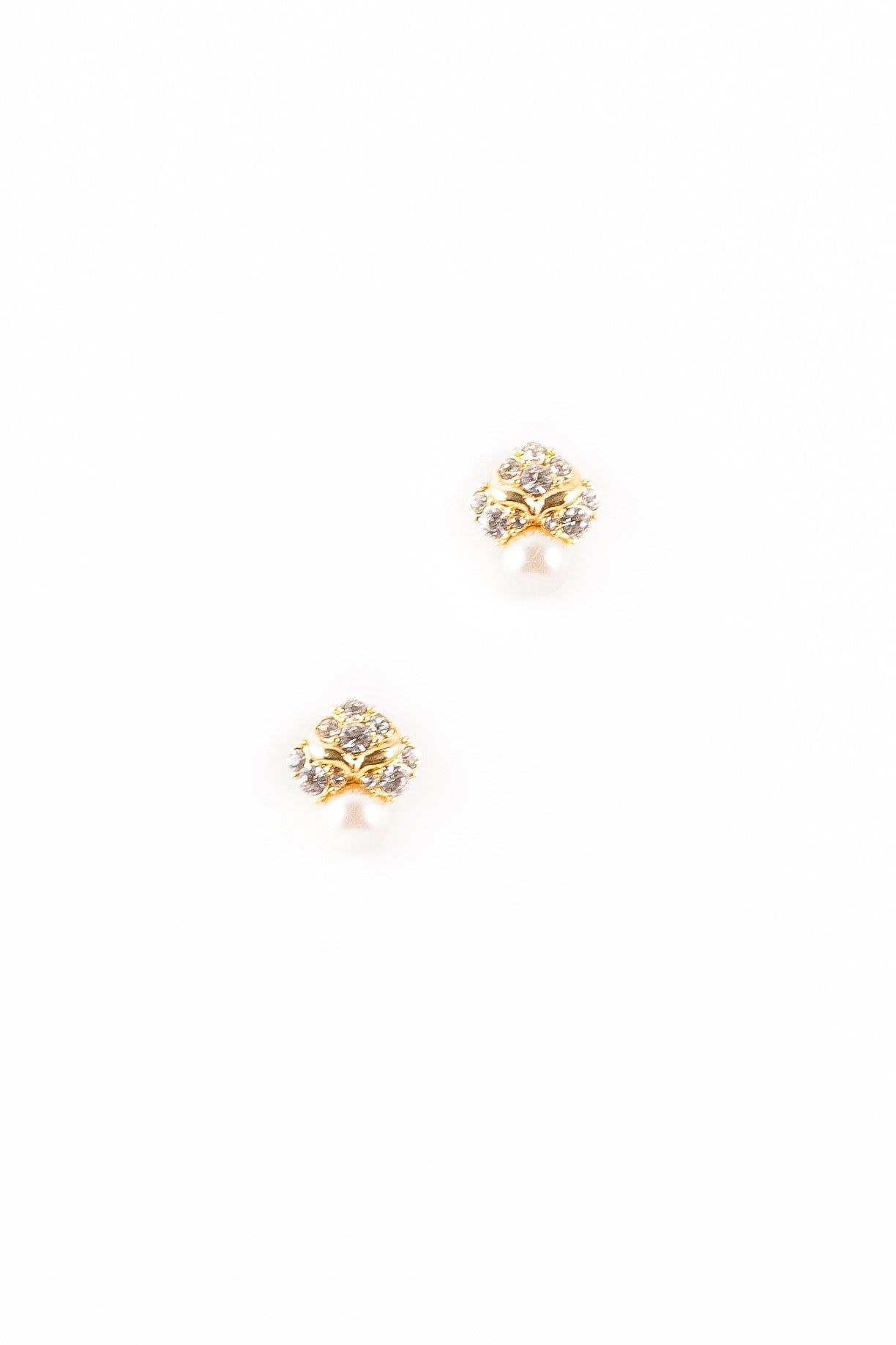 70's__Monet__Mixed Rhinestone Cluster Pearl Stud Earrings