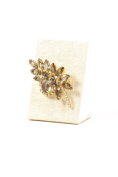 60's__Monet__Rhinestone Leaf Brooch
