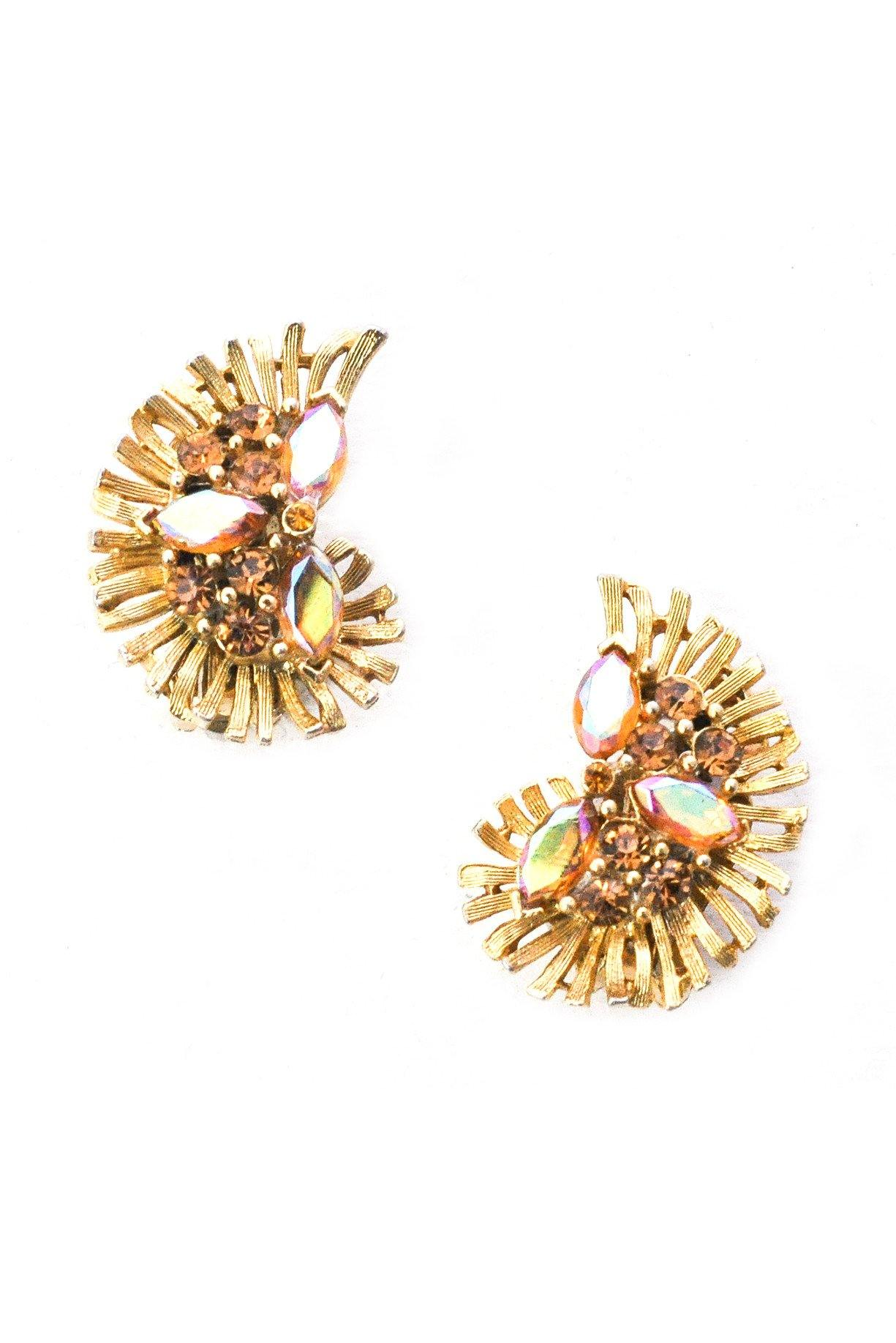 Champagne Rhinestone Crawler Clip-on Earrings