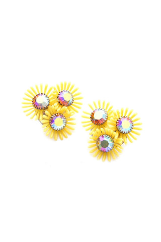 Yellow Florals Burst Clip-on Earrings