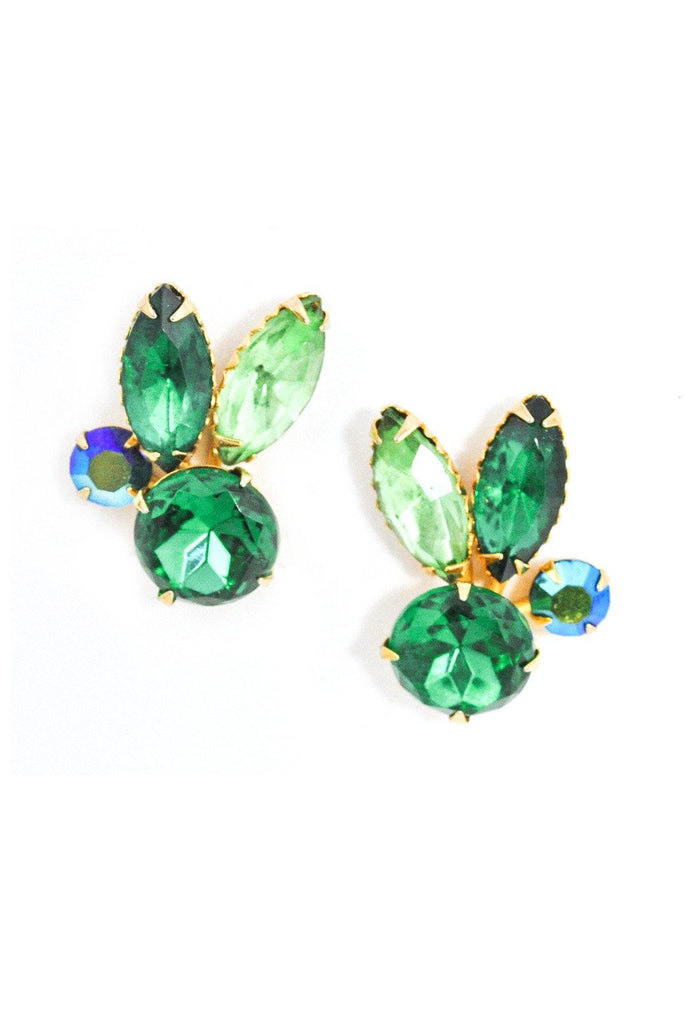 Emerald Rhinestone Crawler Clip-on Earrings