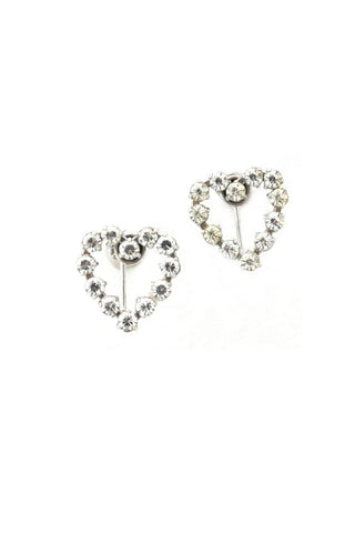 Rhinestone Heart Clip-on Earrings