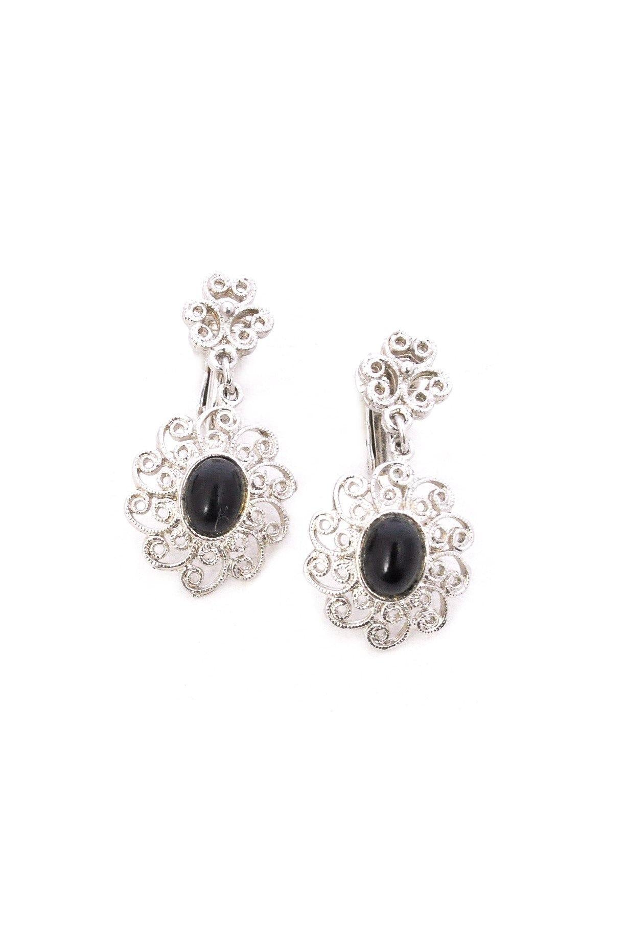 Silver Filigree Drop Clip-on Earrings