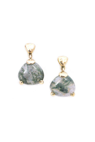 Marbled Stone Drop Clip-on Earrings