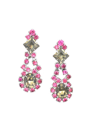 Grey and Pink Rhinestone Clip-on Earrings