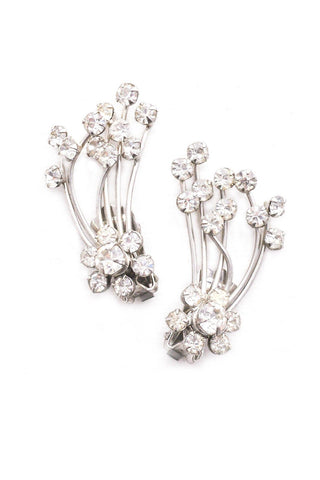 Rhinestone Spray Crawler Clip-on Earrings