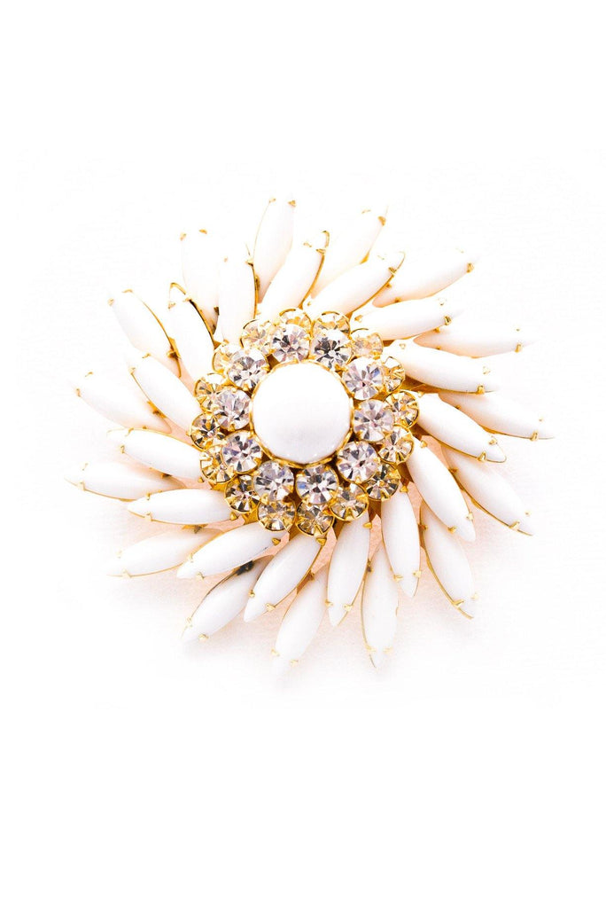 Milk Glass Burst Brooch
