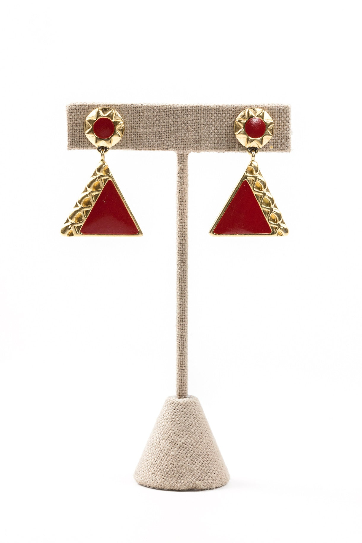 80's__Monet__Red Enamel Drop Earrings