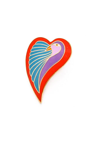 Parrot Heart Brooch