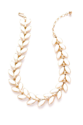 White Milk Glass Leaf Necklace