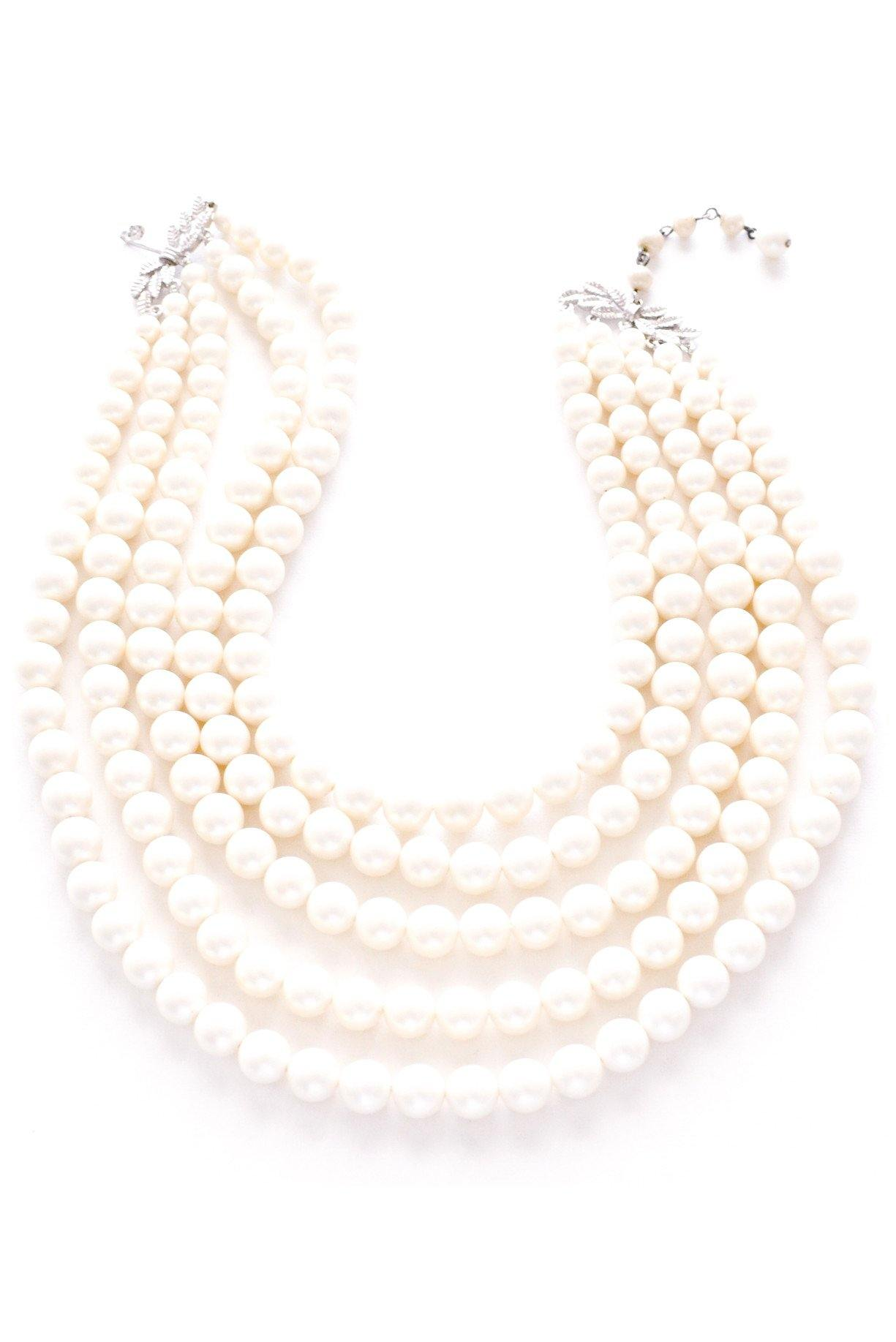 Multi Chain Pearl Statement Necklace