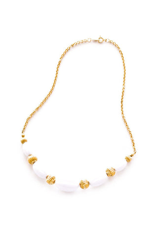Gold & White Beaded Necklace