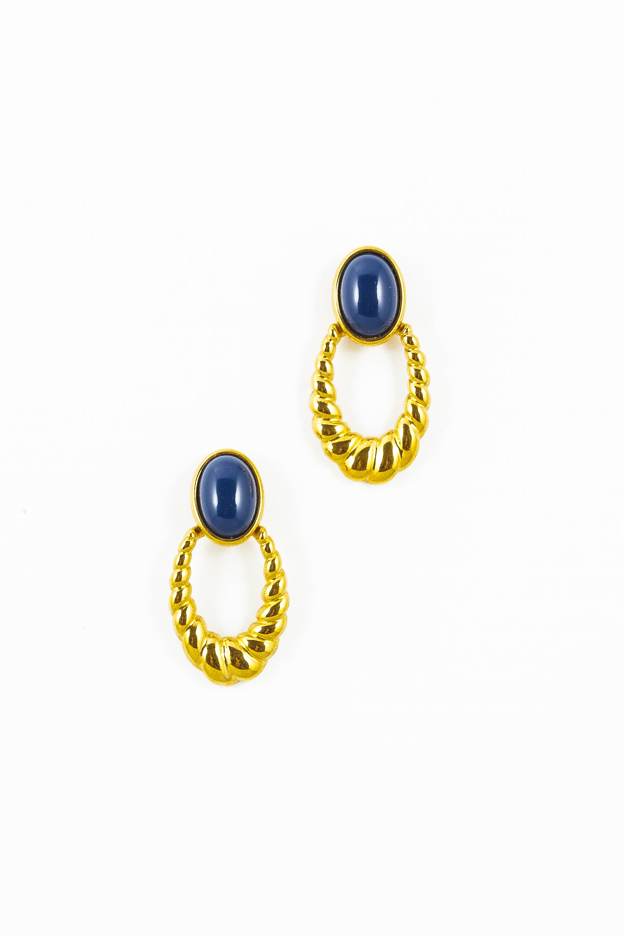 80's__Monet__Navy Dot Rope Earrings