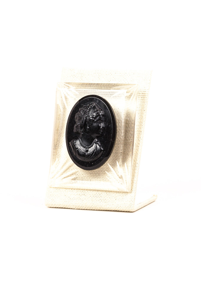 60's__Vintage__Lucite Bold Black Cameo Brooch