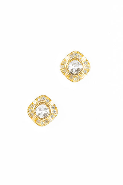 70's__Trifari__Square Rhinestone Stud Earrings