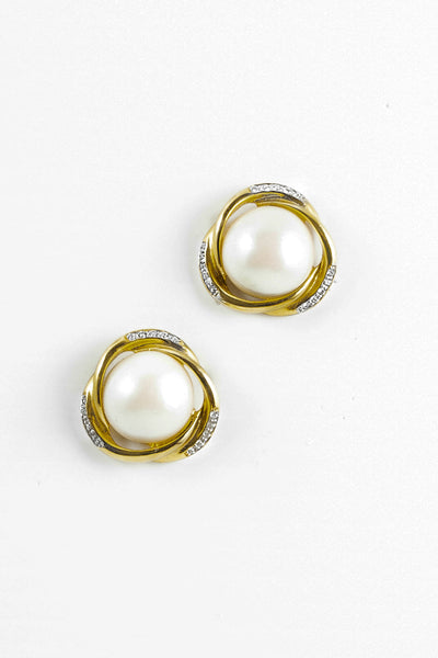 70's__Richelieu__Rhinestone Framed Pearl Statement Stud Earrings