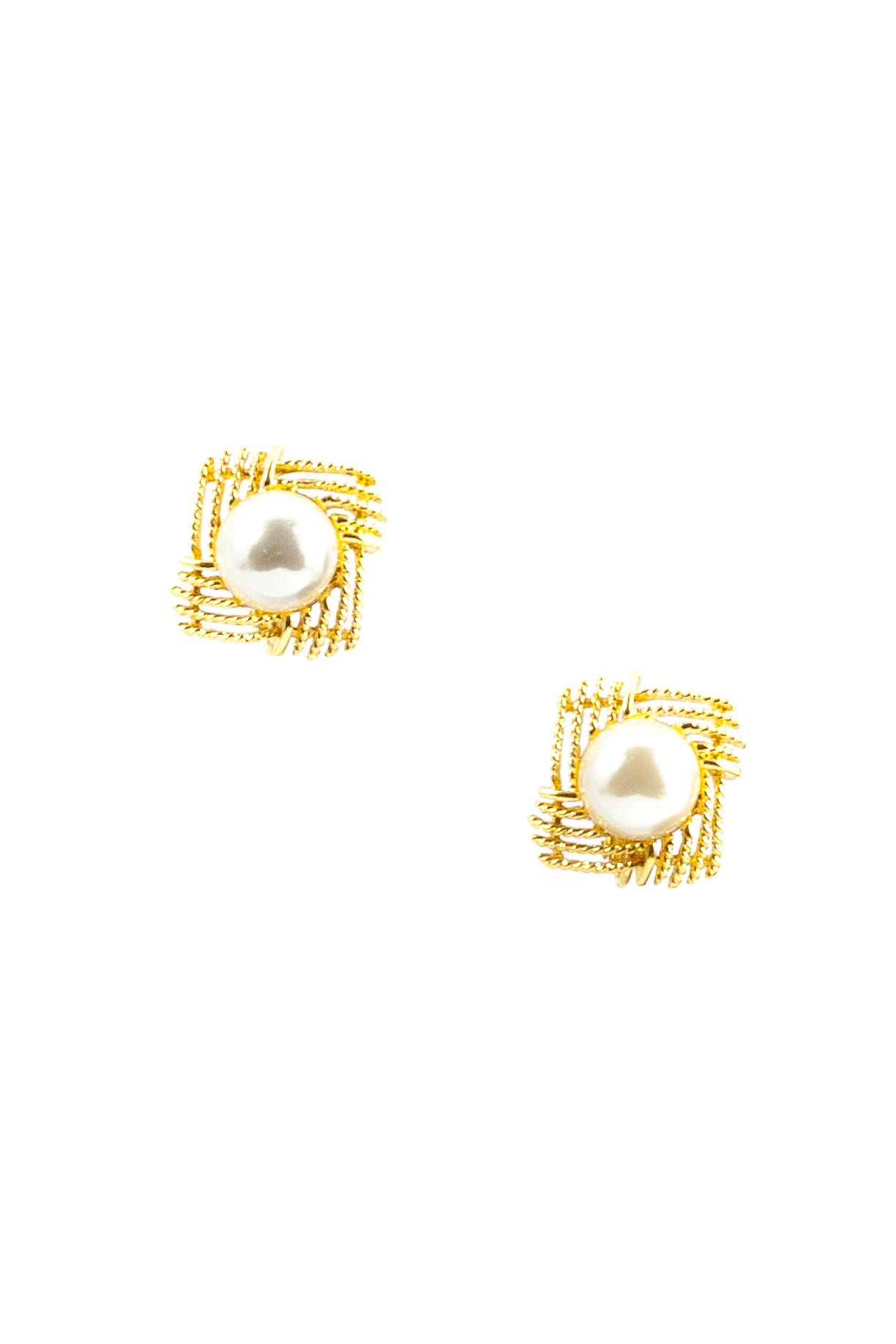 60's__Napier__Gold Framed Pearl Clips