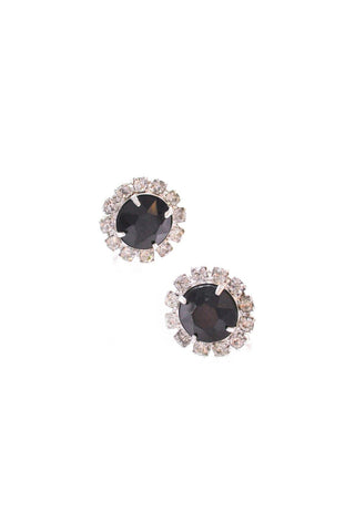 Jet Rhinestone Cluster Clip-On Earrings