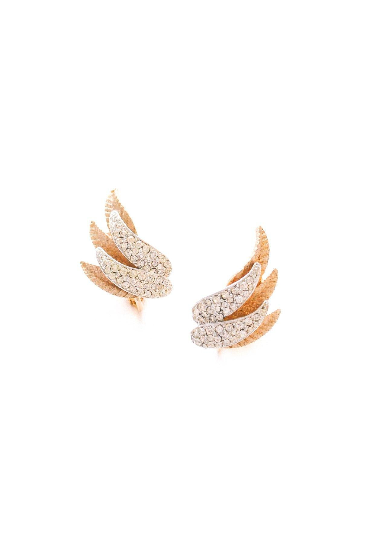 Rhinestone Wing Clip-On Earrings