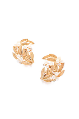 Leaf and Pearl Clip-On Earrings