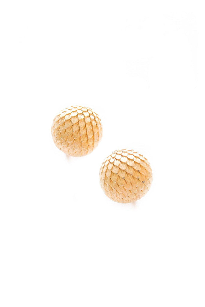 Domed Feather Clip-On Earrings