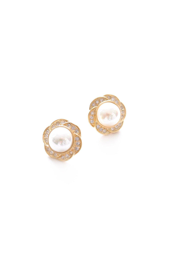 Floral Pearl Pierced Earrings