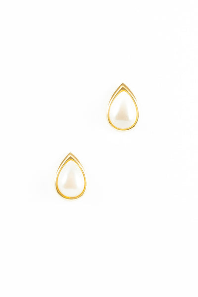 70's__Monet__Framed Pearl Teardrop Earrings