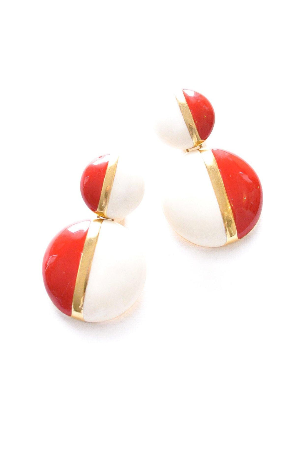 Red and Cream Drop Clip-on Earrings