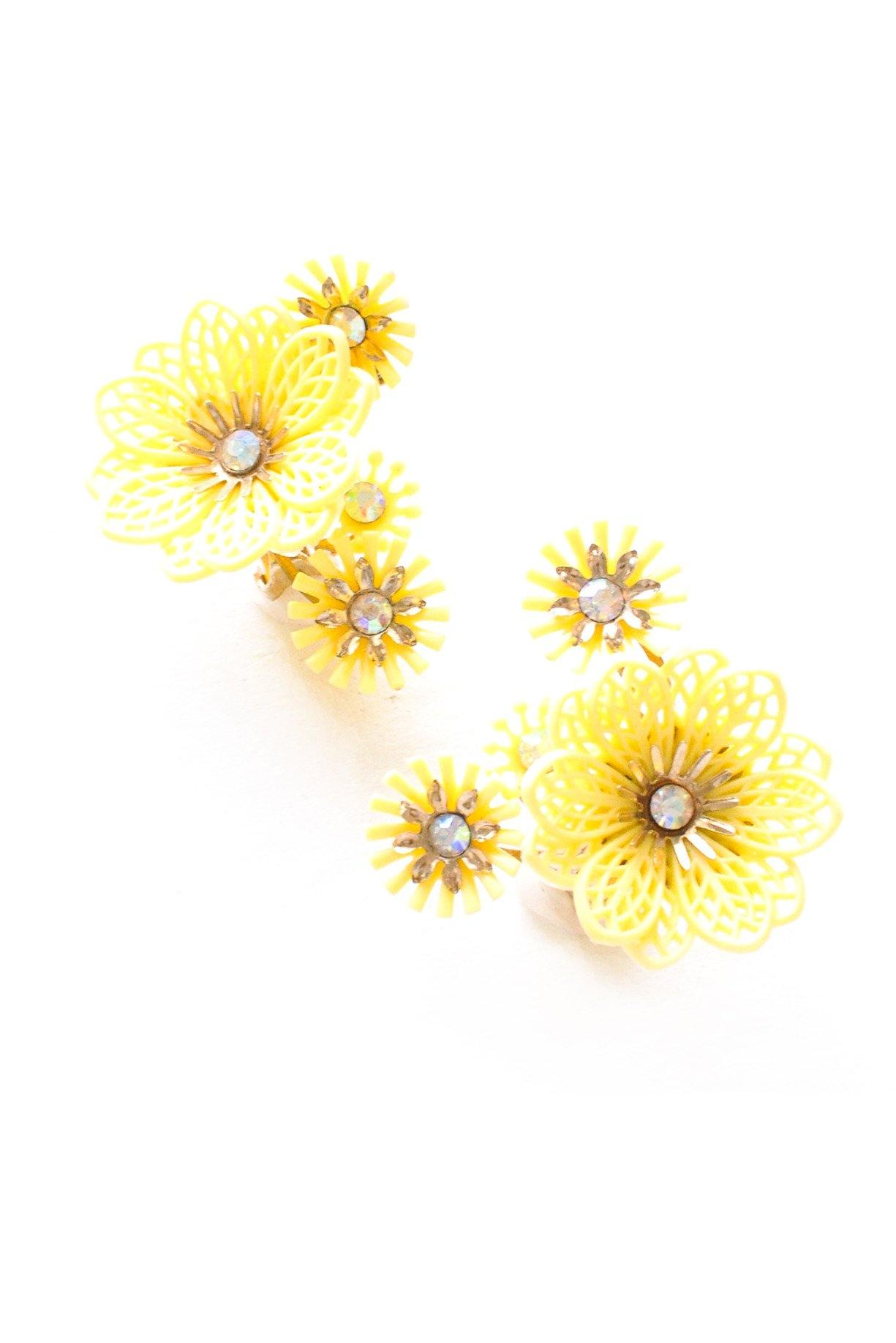 Yellow Floral Burst Clip-on Earrings