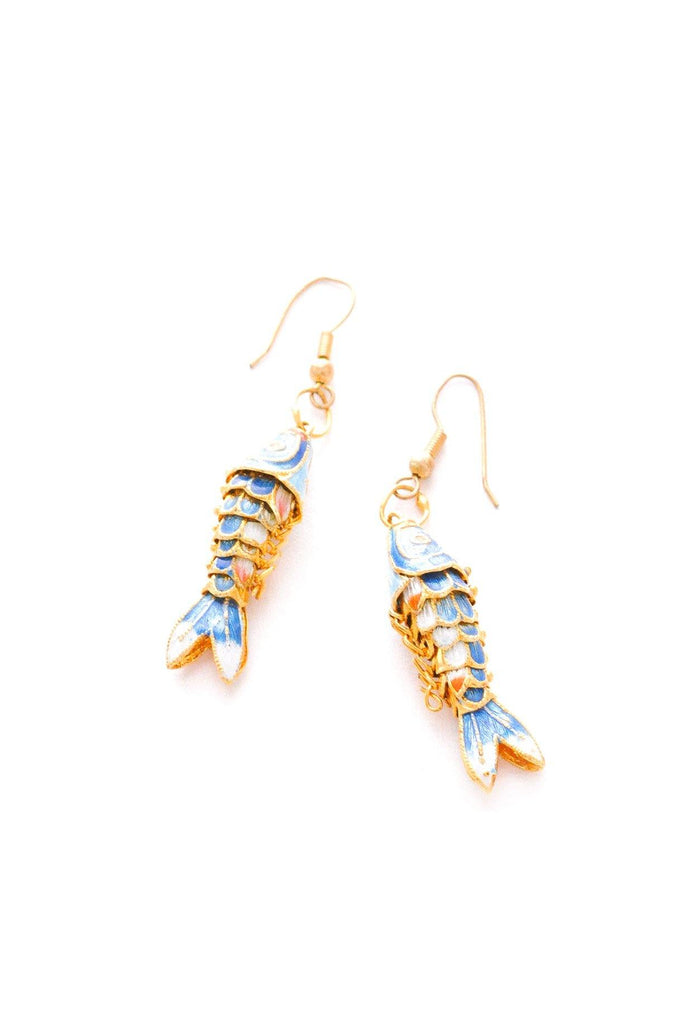 Enamel Fish Drop Pierced Earrings