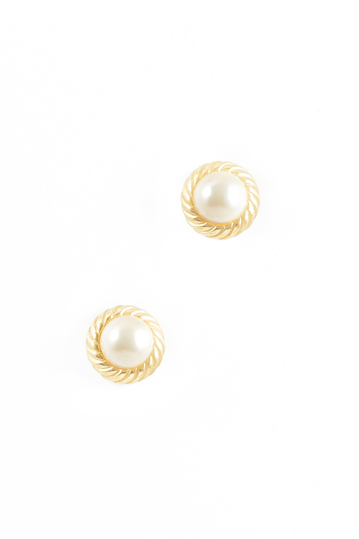 70's__Marvella__Gold Framed Pearl Earrings