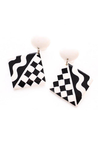 Black and White Statement Pierced Earrings