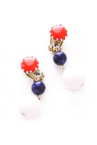Red, White & Blue Drop Clip-On Earrings