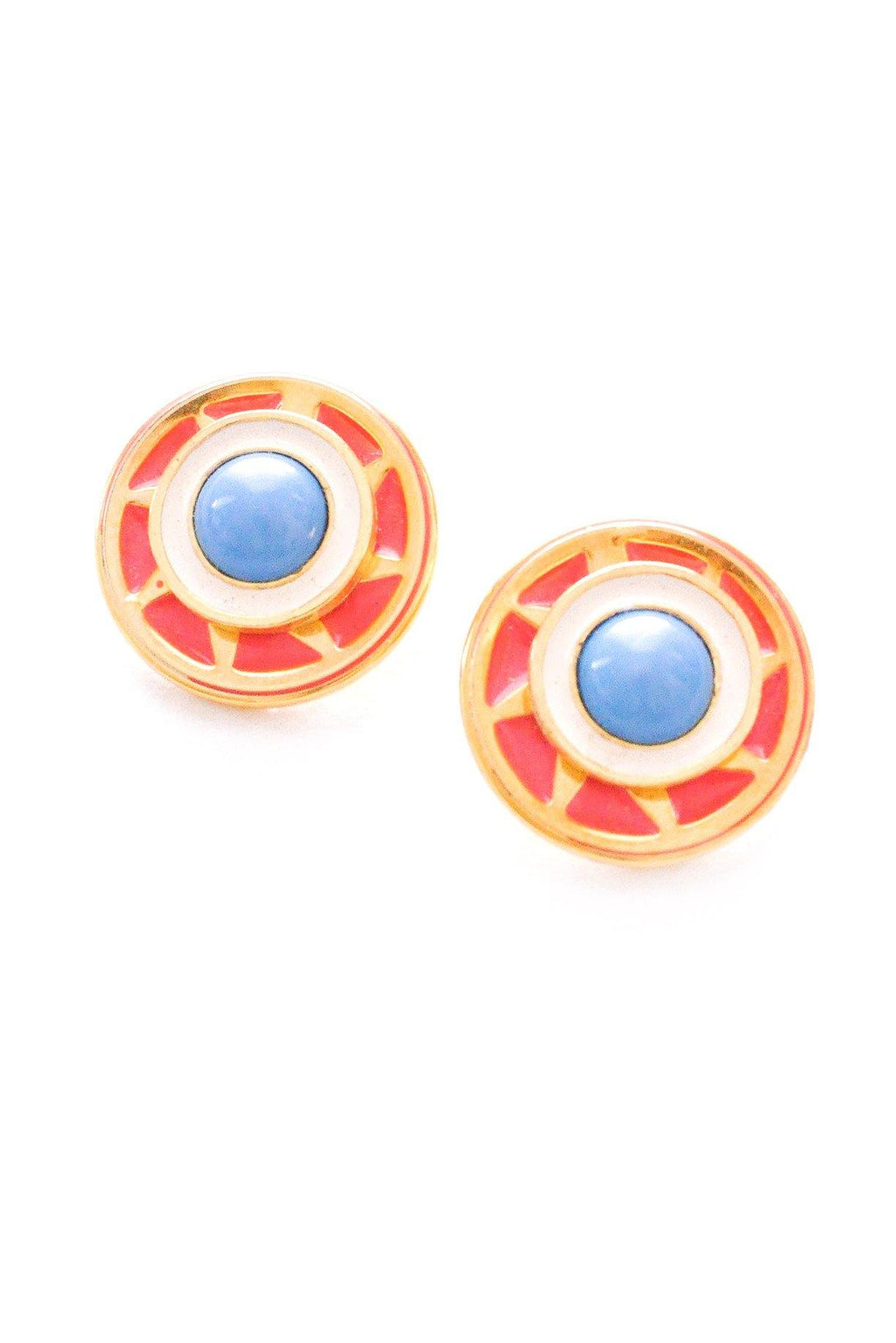 Coral and Blue Disc Clip-on Earrings