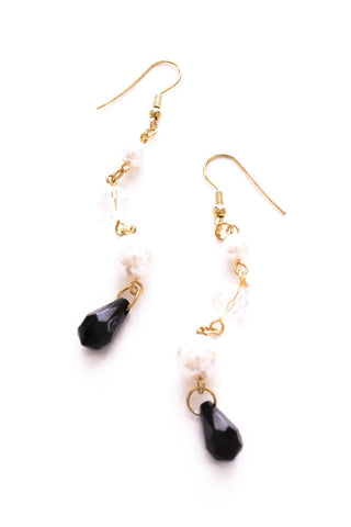 Pearl and Bead Drop Pierced Earrings