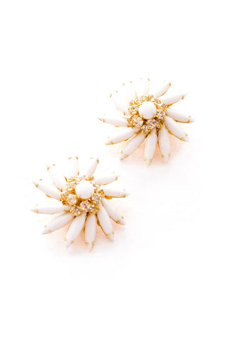 Milk Glass Burst Clip-On Earrings