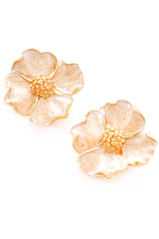 Enamel Flower Clip-On Earrings