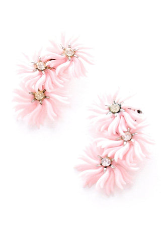 Pink Floral Crawler Clip-On Earrings