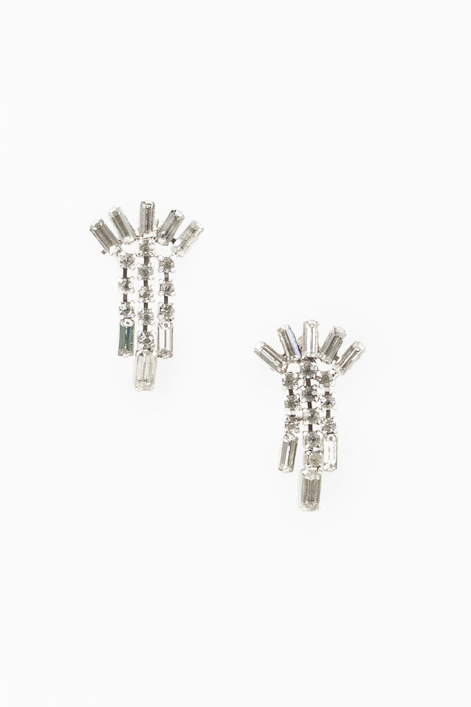 60's__Vintage__Rhinestone Cluster Drop Clips