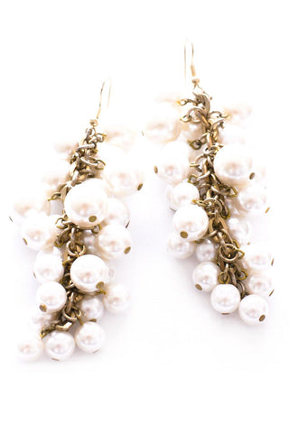 Pearl Tassel Pierced Earrings