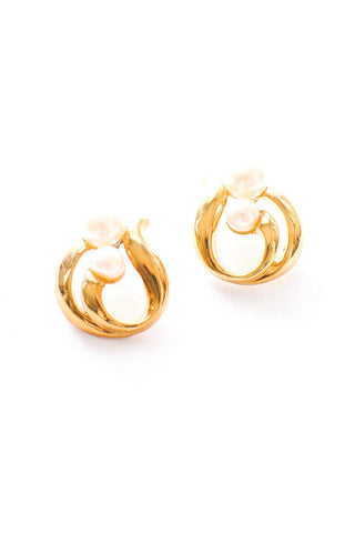 Pearl Swirl Pierced Earrings