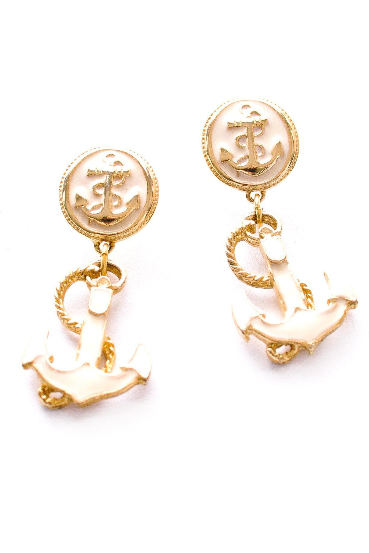 Anchor Statement Pierced Earrings