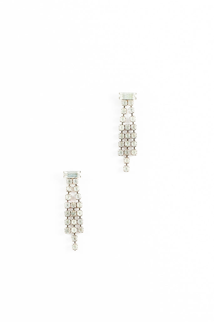 70's__Vintage__Mini Rhinestone Fringe Earrings