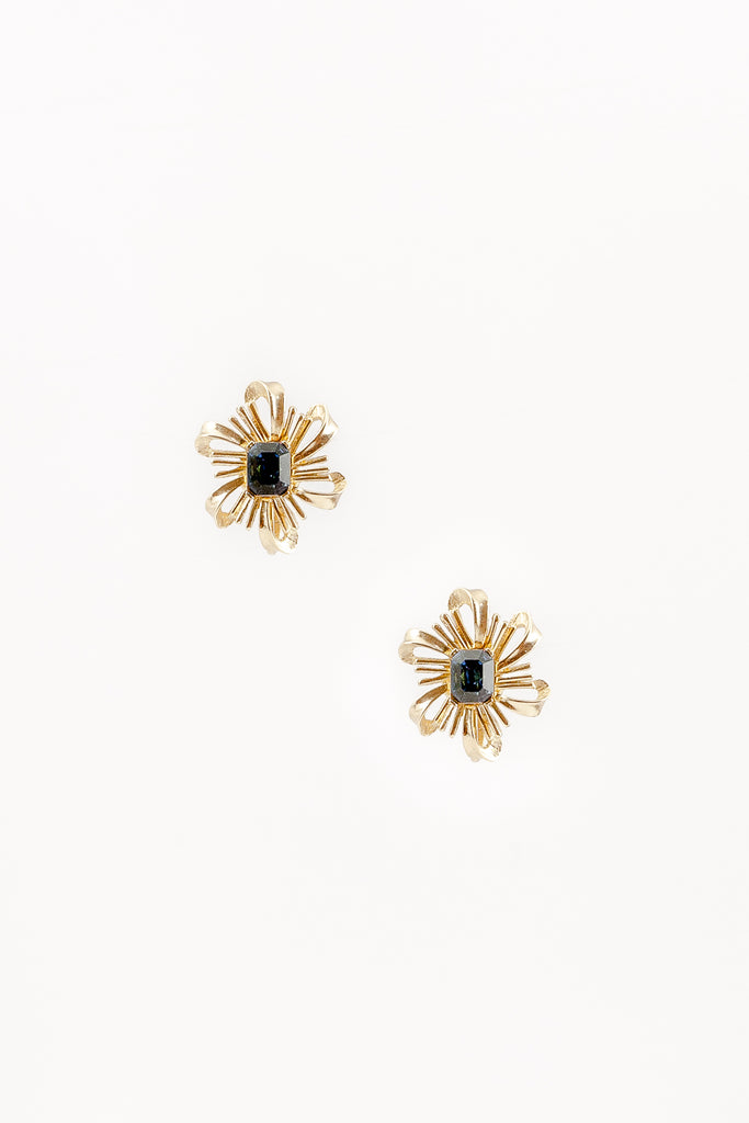 60's__Trifari__Gold Flower Burst Clips
