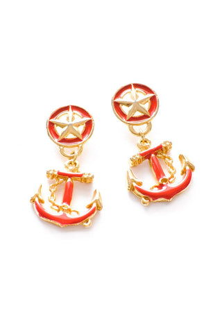 Red Anchor Statement Pierced Earrings
