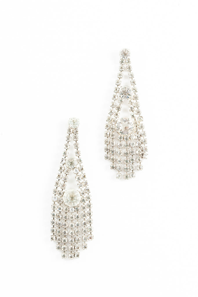 70's__vintage__Rhinestone Fringe Earrings