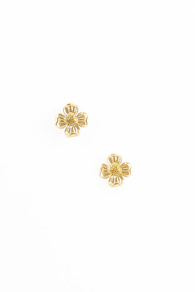 70's__Trifari__Gold Flower Stud Earrings