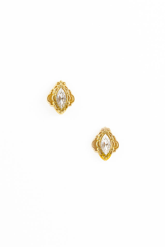 70's__Vintage__Oval Rhinestone Earrings