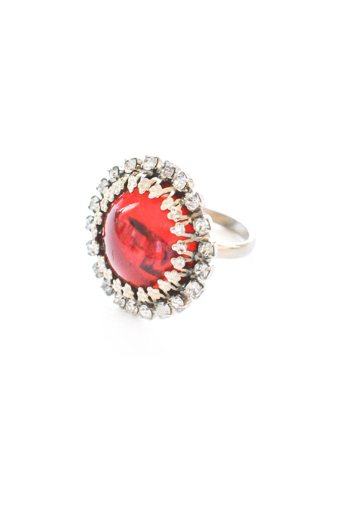 Adjustable Red Rhinestone Cocktail Ring