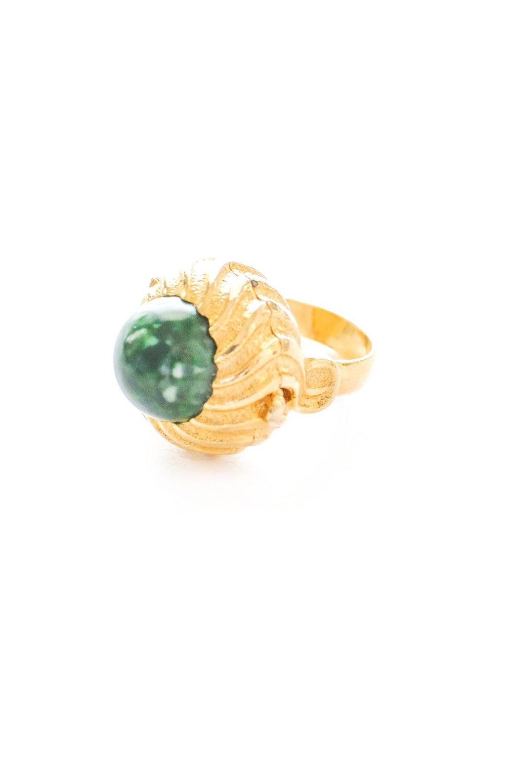 Adjustable Jade Locket Cocktail Ring